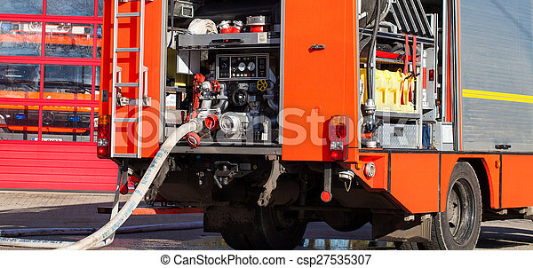 fire truck with hose - csp27535307
