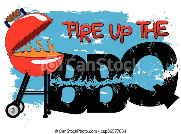fire up the bbq cartoon style vector illustration