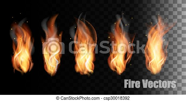 Fire vectors on transparent background. - csp30018392
