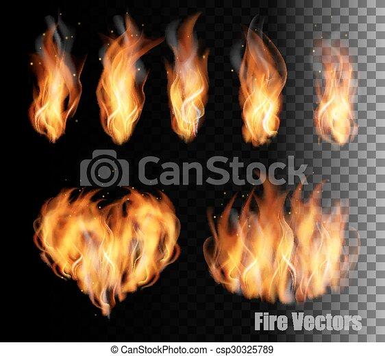 Fire vectors on transparent background. - csp30325789