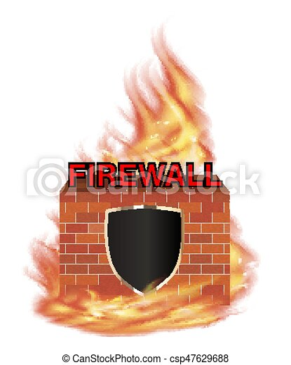 fire wall protection logo with shield and brick wall with fire - csp47629688