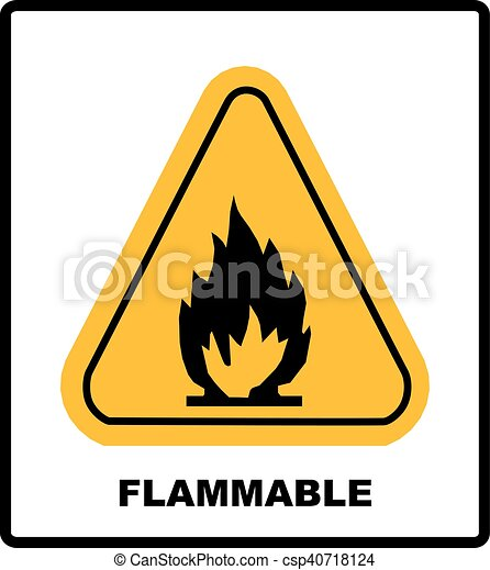 Fire Warning Sign In Yellow Triangle High Flammable Materials