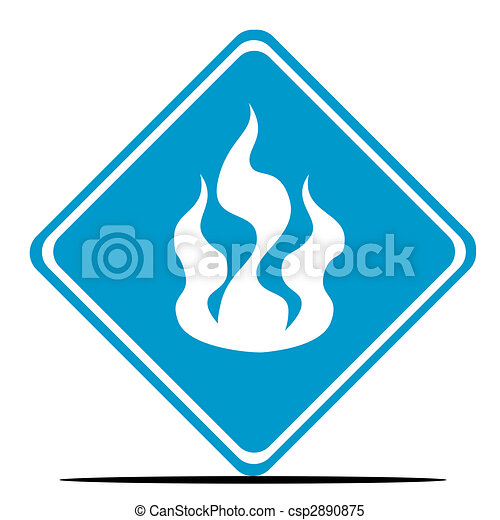 Fire Warning Sign Blue Fire Diamond Shaped Sign Isolated On White