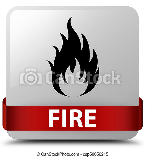 Fire white square button red ribbon in middle - csp50056215