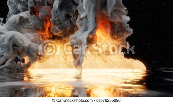 Fire With Smoke Dark Background 3d Illustration