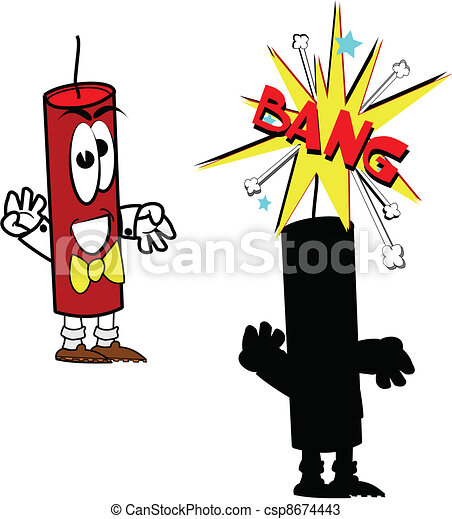 firecracker in two styles over white with bang vectors search clip rh canstockphoto com firecracker clipart black and white firecracker clip art images
