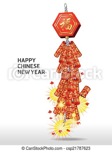 Firecrackers on chinese new year card. vector version also available.