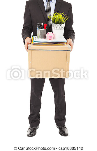fired businessman carrying a box - csp18885142