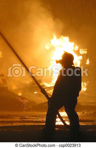 firefighter at blaze - csp0023913