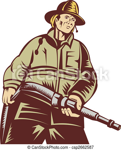 Firefighter carrying a hose viewed from a low angle done in woodcut style - csp2662587