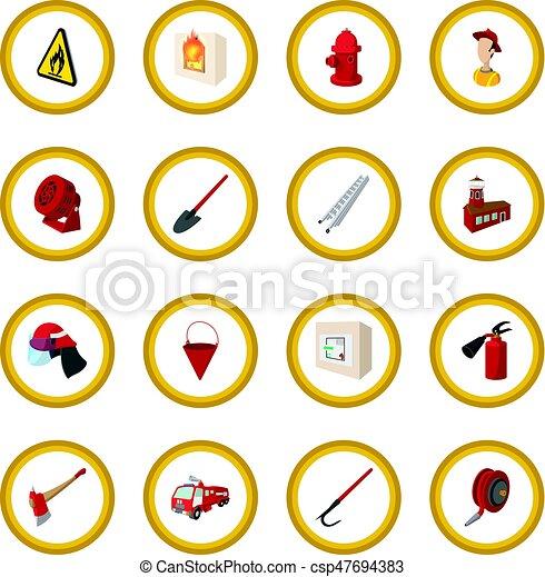 Firefighter cartoon icon circle - csp47694383