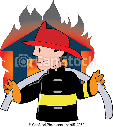 firefighter carrying a fire hose infront of a blazing house clip art rh canstockphoto com house on fire clipart black and white House On Fire Drawing