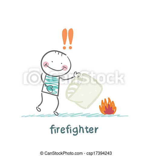 firefighter extinguishes a fire pillow - csp17394243