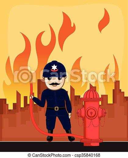 Firefighter Holding a Fire Hose - csp35840168