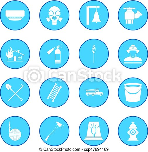 Firefighter icon blue - csp47694169