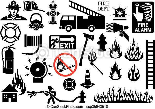 firefighter icons and symbols - csp35943510
