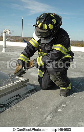 Firefighter on Roof - csp1454603
