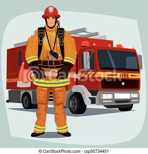 firefighter or fireman with fire truck firefighter man from fire rh canstockphoto com firefighter tools clipart firefighter helmet clipart