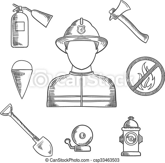 firefighter profession hand drawn sketch icons firefighter
