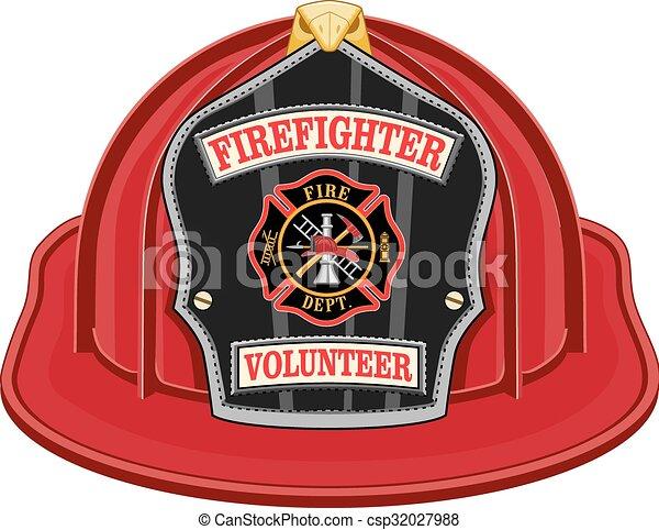 Red fire helmet clipart