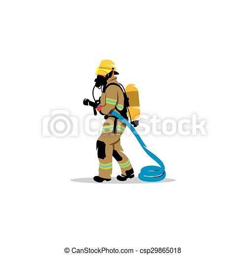 Firefighter with a hose sign. Vector Illustration. - csp29865018