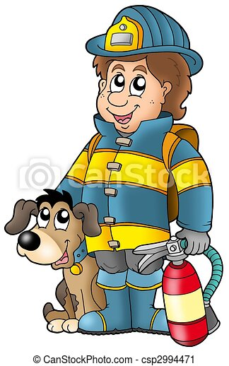 Firefighter with dog and extinguisher - csp2994471
