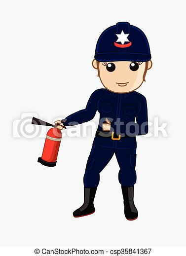 Firefighter with Fire-Extinguisher - csp35841367