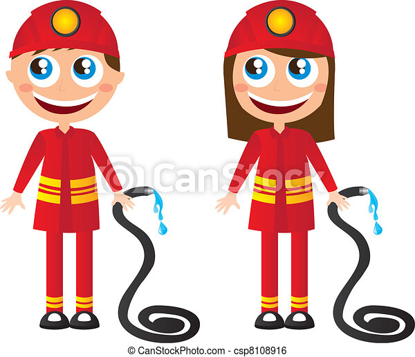 man and woman firefighters cartoons with fire hose vector clip art rh canstockphoto com firefighting clip art firefighters clip art free