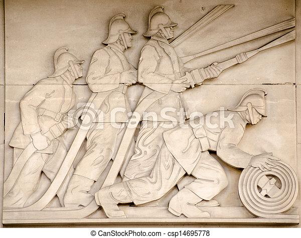 Firefighters frieze, london. Art deco bas relief sculpture ...
