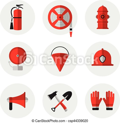 Firefighting and fire safety equipment flat icons. Fire extinguisher, hose reel, hydrant, ringing alarm bell, metal fire bucket, helmet, megaphone, shovel and ax, gloves. Vector illustration. - csp44339020