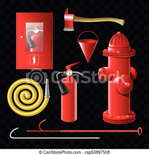 Firefighting equipment - set of realistic vector isolated objects - csp53897508