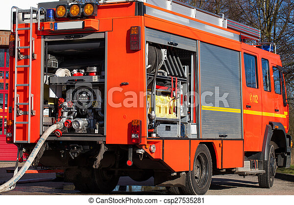 Firefighting vehicle with hose - csp27535281