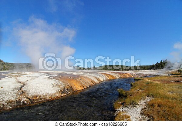 Firehole River in Yellowstone Park - csp18226605