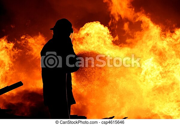 Fireman fighting a fire - csp4615646