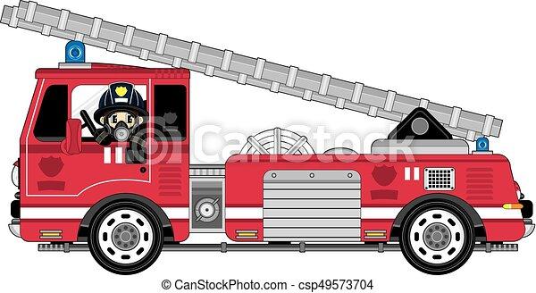 fireman fire truck cute cartoon fireman firefighter and rh canstockphoto com fire truck vector file fire engine vector