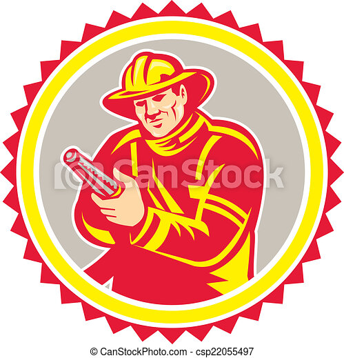 Fireman Firefighter Aiming Fire Hose Rosette - csp22055497