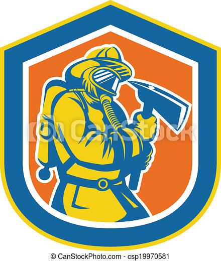 Fireman Firefighter Holding Fire Axe Shield - csp19970581