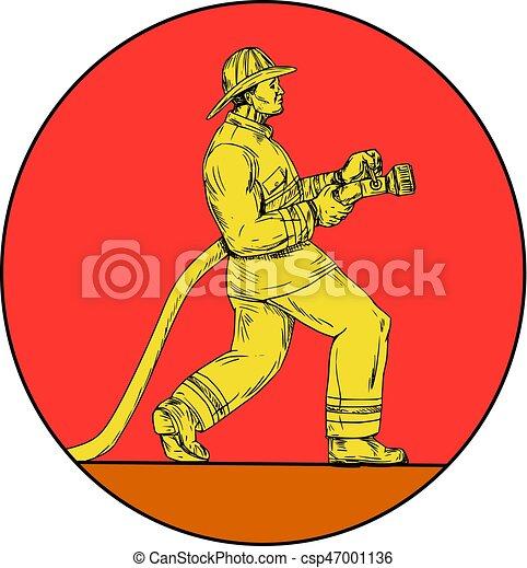 Fireman Firefighter Holding Fire Hose Circle Drawing - csp47001136