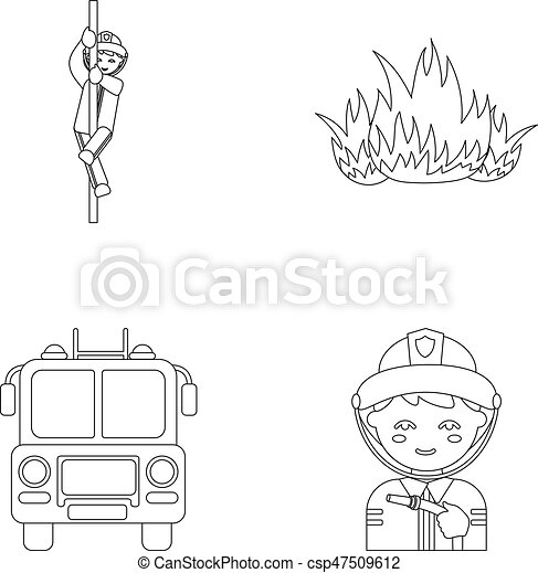 Fireman Flame Fire Truck Departmentset Set Collection Icons In Outline Style Vector Symbol