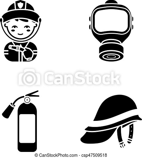 Fireman, gas mask, fire extinguisher, helmet. Fire department set collection icons in black style vector symbol stock illustration web. - csp47509518