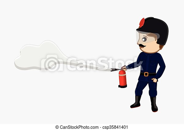 Fireman Holding a Fire-Extinguisher - csp35841401