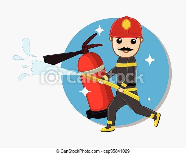 Fireman Holding a Fire Hose - csp35841029