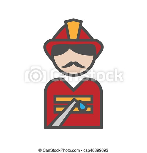 Fireman icon with uniform on white background - csp48399893