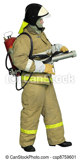 Fireman with a  Fog nozzle  - csp8759601