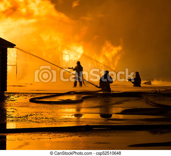 Firemen at work on fire - csp52510648