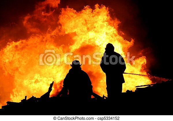 Firemen in Silhouette - csp5334152