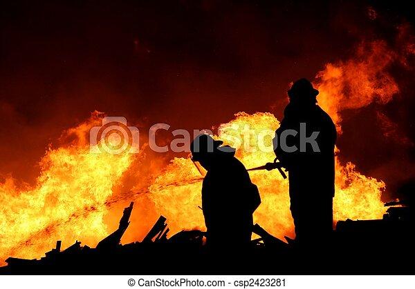 Firemen Silhouette - csp2423281