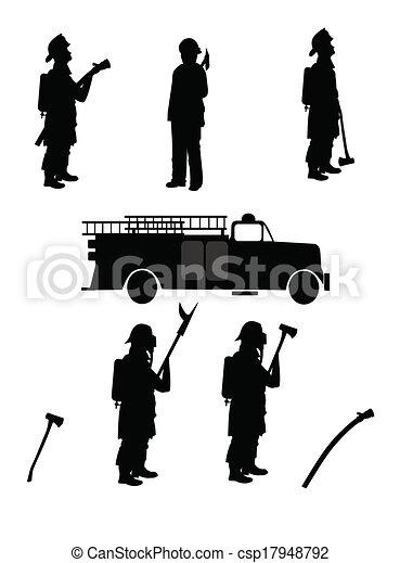firemen silhouettes - csp17948792