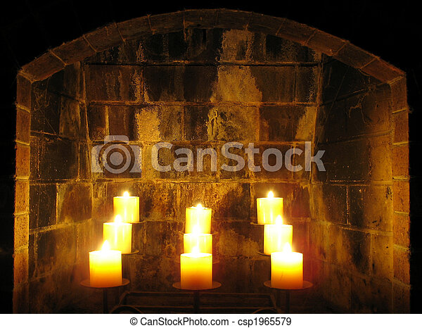 Fireplace Candles This Is A Set Of Nine Candles Burning In The