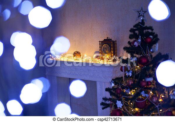 Fireplace Christmas Decorations.Fireplace Christmas Tree Lights Decorations